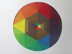 cercle chromatique, gouache