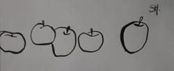 pommes à la ligne , feutre