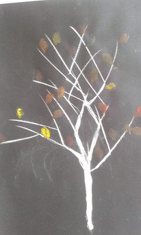 arbre craie et acrylique