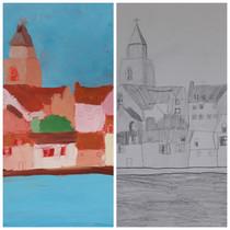 Village d'Anne, crayon et huile