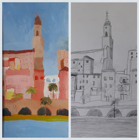 village Faustine, crayon et huile