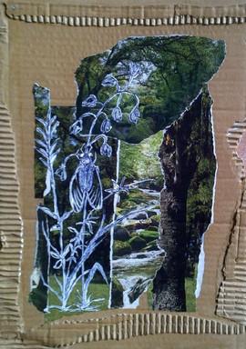 collage et acrylique sur carton
