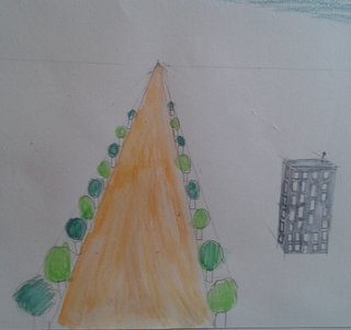 La route bordée d'arbres