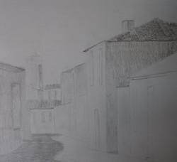 Village, dessin préparatoire, crayon