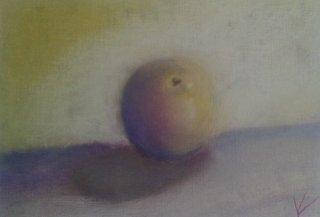 pomme à l'huile et pastel
