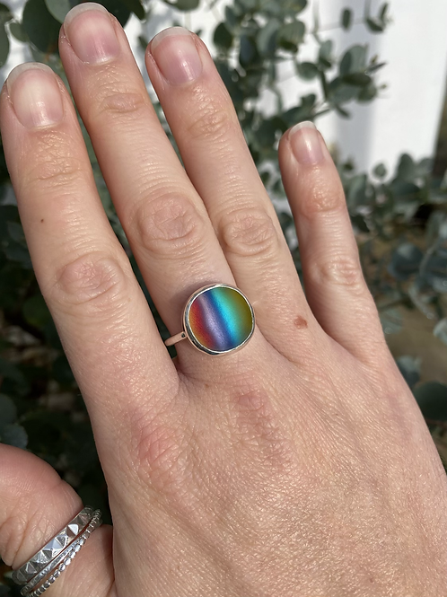 Rainbow frosted glass ring size Q