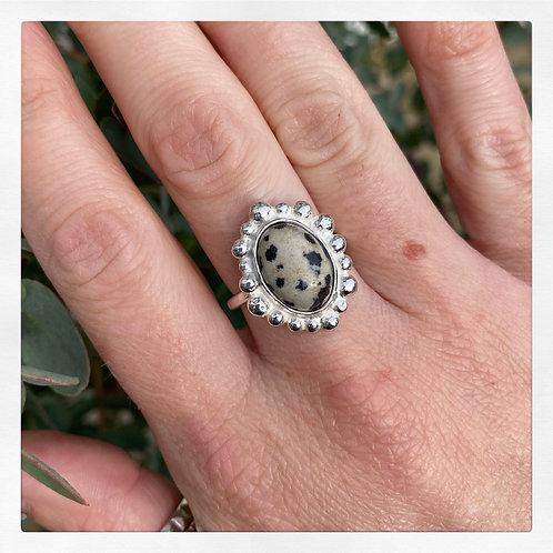 Dalmatian jasper bubble set ring, Size N3/4