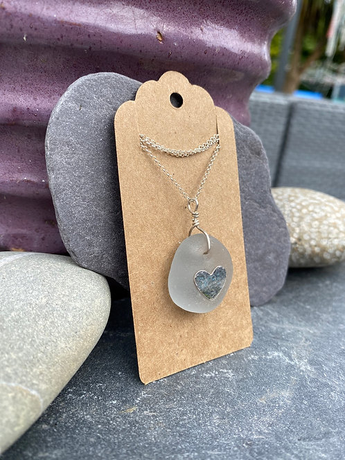 Floating heart seaglass necklace