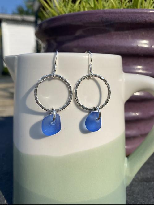 Seaglass and hoop earrings