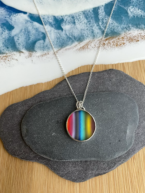 Glass rainbow cabochon necklace