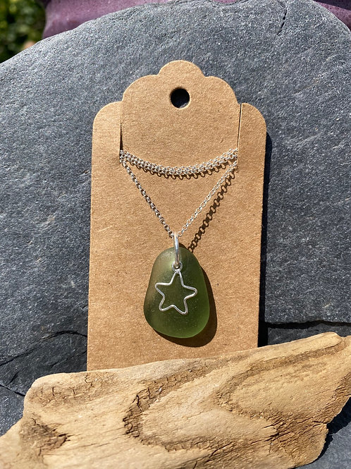Seaglass and star necklace