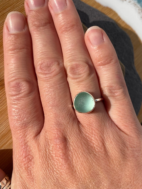 Seafoam seaglass ring