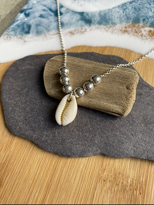 Cowrie shell and silver beaded necklace