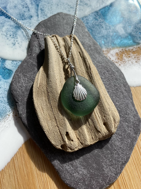 Seaglass and shell necklace