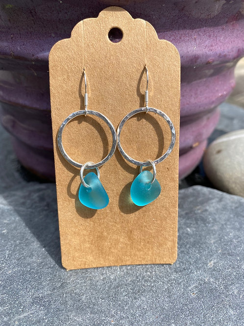 Silver hoop and seaglass earrings