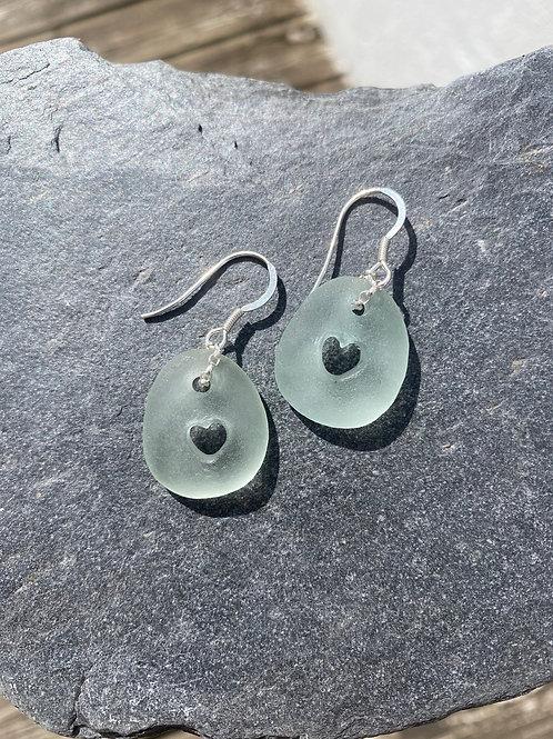 Seaglass heart cutout drop earrings