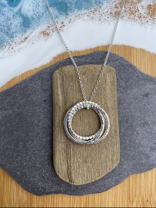 Triple Textured Hoop Necklace
