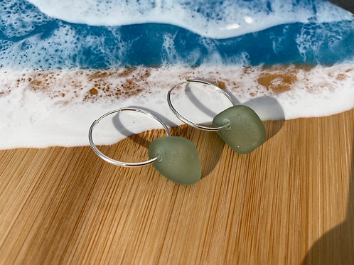 Seaglass hoops