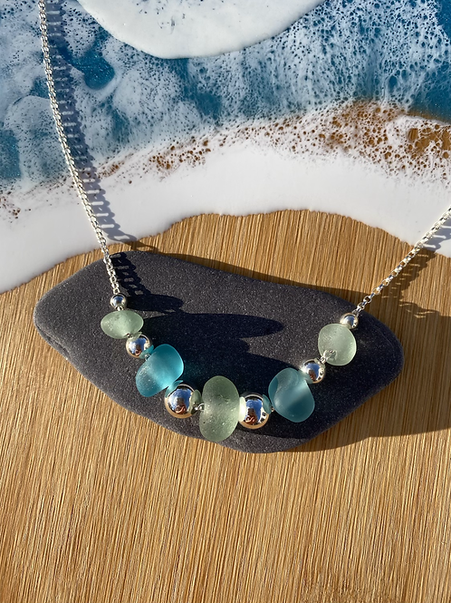 Seaglass and silver beaded multi necklace
