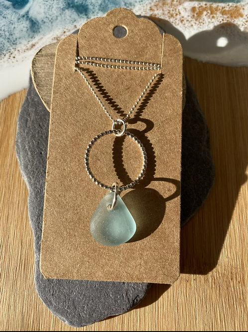 Hoop and seaglass necklace