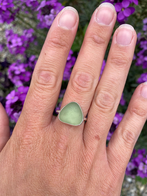 Seaglass Ring green triangle