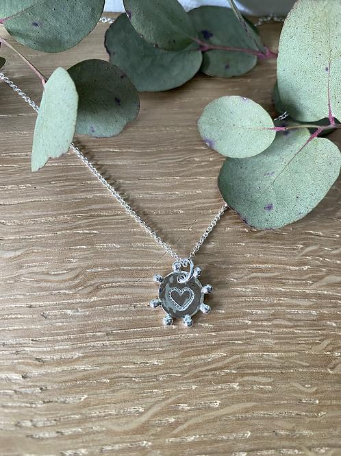 Sunburst heart or initial pendant