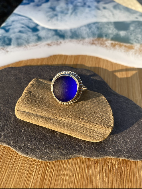 Blue vintage set seaglass and silver ring