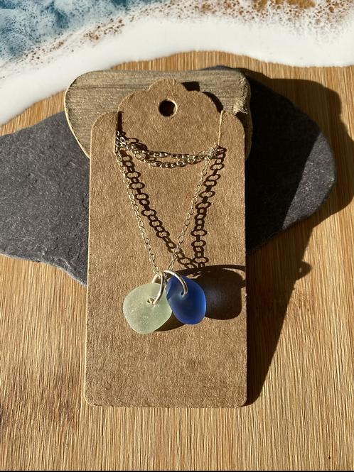 Simple seaglass drop pendants