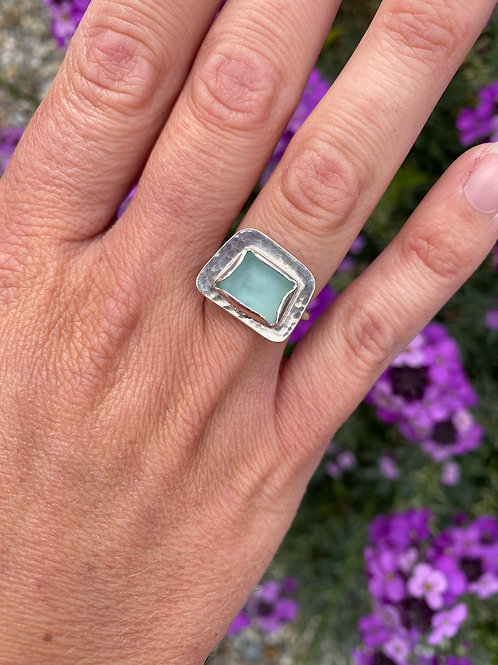 Seaglass and silver set ring