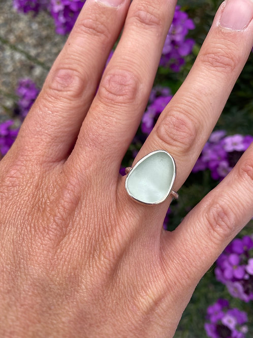 Pale green seaglass and silver ring
