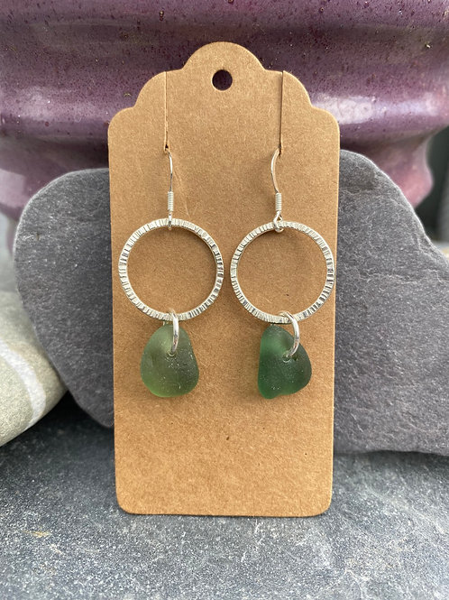 Hoop and seaglass earrings