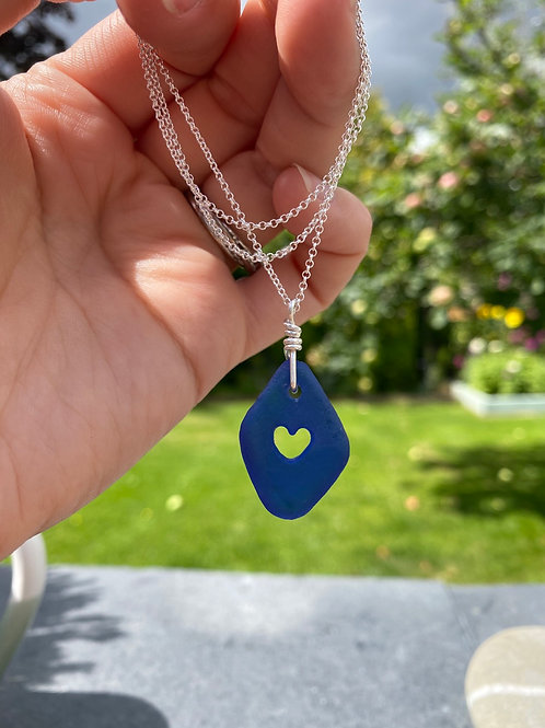 Seaglass heart cutout necklace