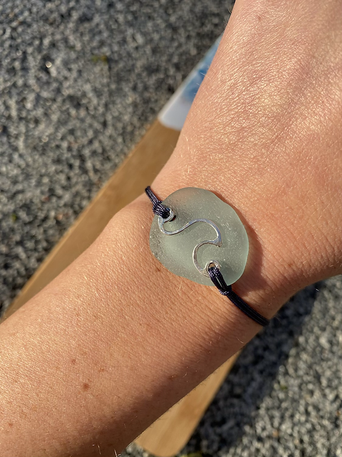Seaglass wave friendship style bracelet