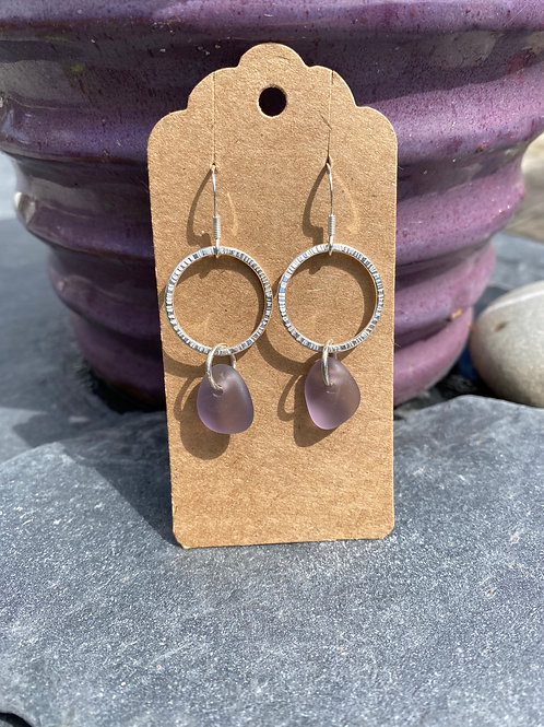 Silver Hoop and Seaglass drop earrings