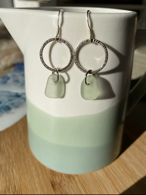 Silver hoop and seaglass earrings