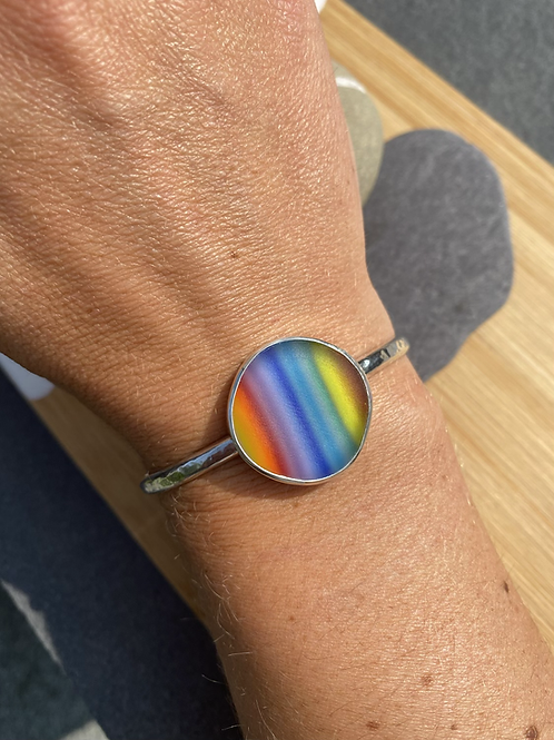 Sterling silver and rainbow glass cuff bangle