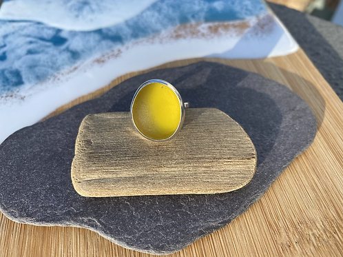 Bright yellow seaglass ring