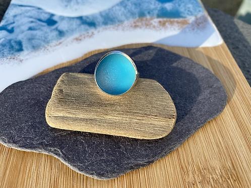 Bright blue seaglass ring