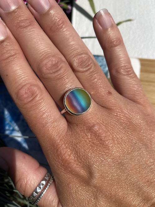 Glass rainbow cabochon ring, size Q