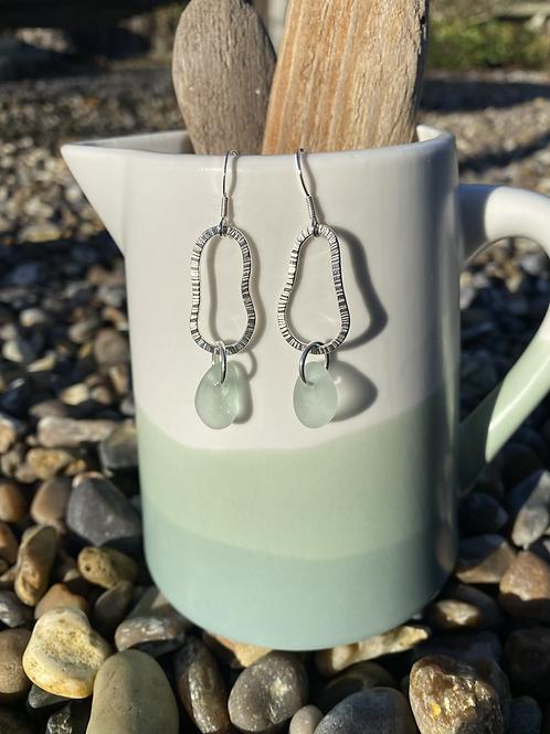 Silver seaglass drop earrings