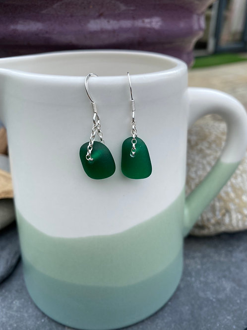 Green Seaglass drop earrings