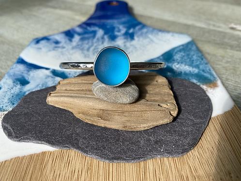 Sterling silver and seaglass cuff bangle