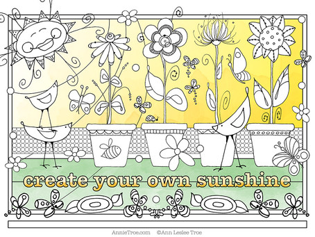 NEW Free Coloring Page: Potted Flowers
