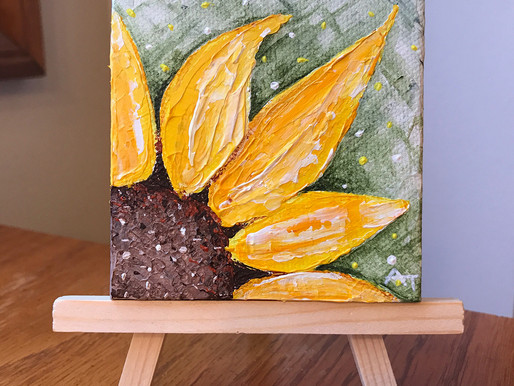 """""""Ray of Sunshine!"""" 3""""x3"""" original painting Giveaway"""