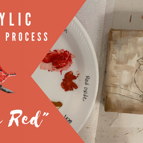 """""""Little Red"""" Process Painting - Cardinal!"""