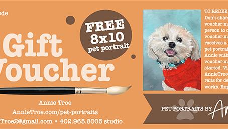 Pet Portrait Gift Vouchers Available