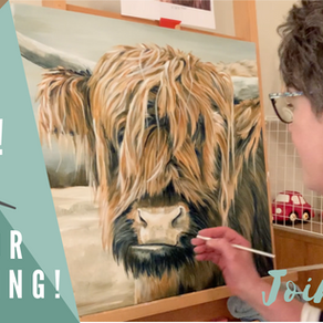 Entire Painting using only 3 colors! - Hippie Hair Cow