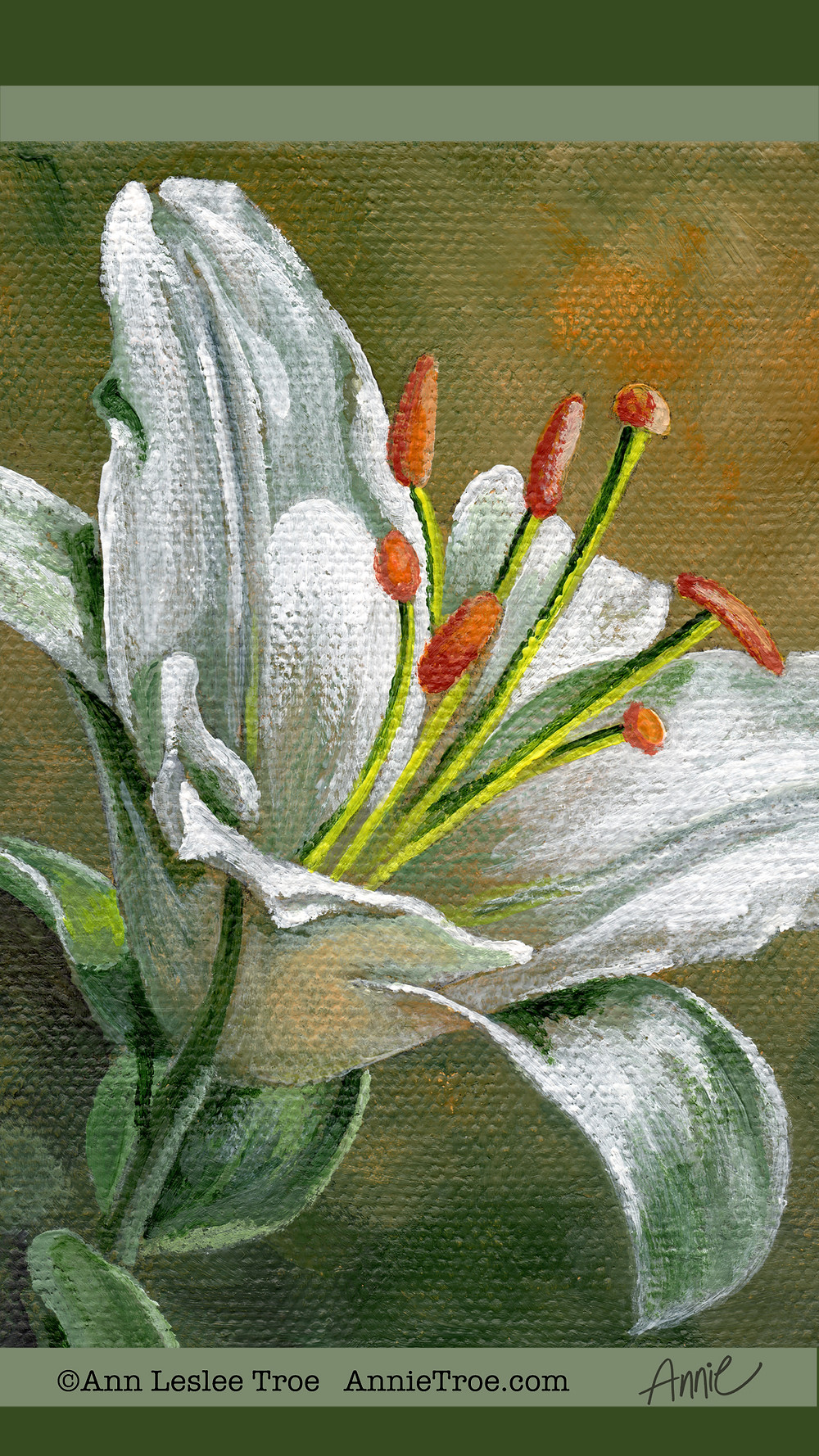 Free phone wallpaper, Annie Troe, White Lily, fine art, flower painting,