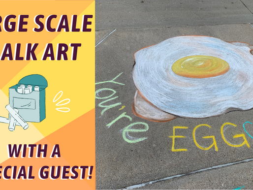 LARGE SCALE Outdoor CHALK ART! Eggs and Bacon! By: Annie Troe