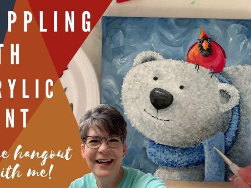 Polar Bear & Cardinal Acrylic Painting with Traceable!
